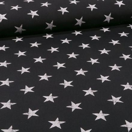 Tissu Jersey coton envers gratté Etoiles sur fond Noir - Par 10 cm