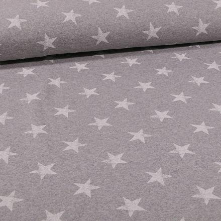 Tissu Jersey coton envers gratté Etoiles sur fond Gris chiné - Par 10 cm