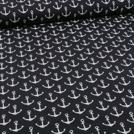 Tissu Jersey Coton envers gratté Ancres marines sur fond Noir - Par 10 cm