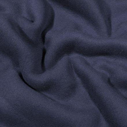 Tissu Polaire Coton uni  Bleu marine - Par 10 cm