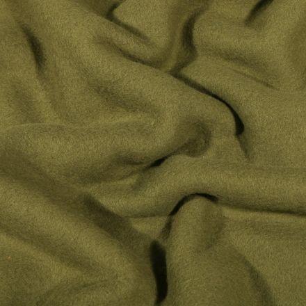 Tissu Polaire Coton uni  Vert kaki - Par 10 cm