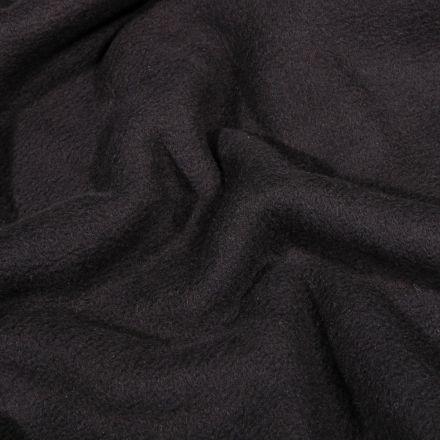 Tissu Polaire Coton uni  Noir - Par 10 cm