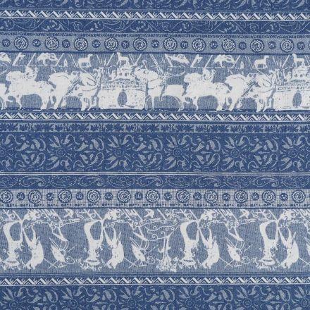 Tissu Denim Jeans léger Châteaux et chevaliers Blancs sur fond Bleu jeans - Par 10 cm