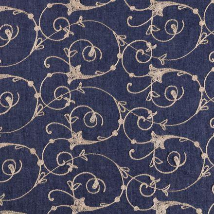 Tissu Denim Jeans léger brodé Arabesques Beiges sur fond Denim - Par 10 cm