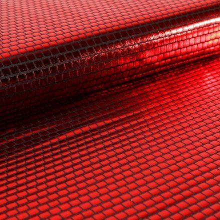 Tissu Jersey Métallisé Petits Carrés rouges - Par 10 cm