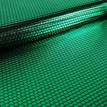 Tissu Jersey Métallisé Petits Carrés verts - Par 10 cm