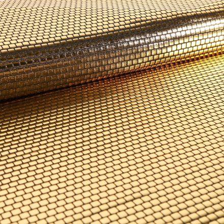 Tissu Jersey Métallisé Petits Carrés dorés - Par 10 cm