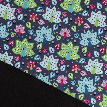 Tissu Softshell envers polaire noire Paons Multicolores sur fond Gris - Par 10 cm