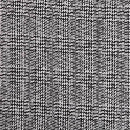 Tissu Maille Prince de Galles Carreaux Noir et blanc sur fond Gris - Par 10 cm