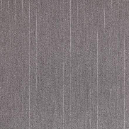 Tissu Gabardine de Viscose Rayures Blanches sur fond Gris - Par 10 cm