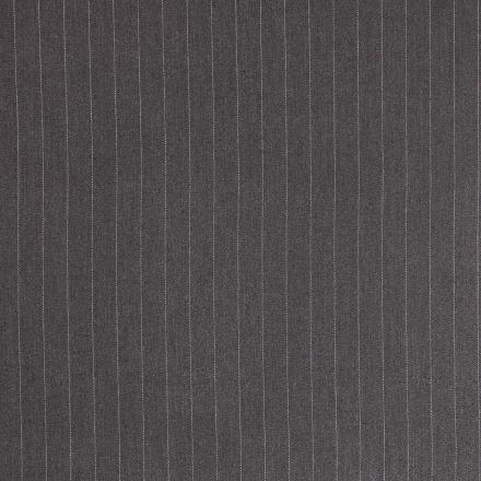 Tissu Gabardine de Viscose Rayures Blanches sur fond Gris foncé - Par 10 cm