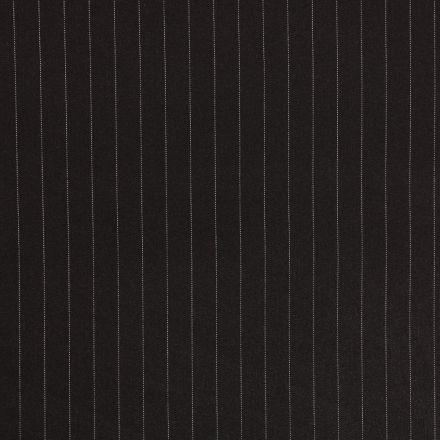 Tissu Gabardine de Viscose Rayures Blanches sur fond Noir - Par 10 cm