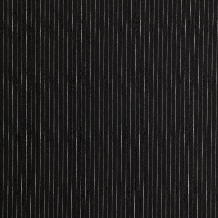 Tissu Gabardine de Viscose Fines Rayures Blanches sur fond Noir - Par 10 cm