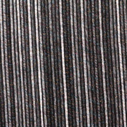 Tissu Lainage Lurex Rayures Multicolores sur fond Gris - Par 10 cm