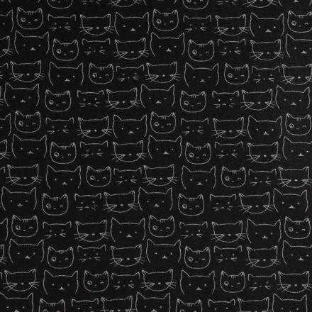 Tissu Flanelle de Coton Têtes de chat Blanches sur fond Noir - Par 10 cm