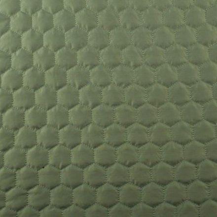 Tissu Doudoune matelassé Hexagone Kaki - Par 10 cm