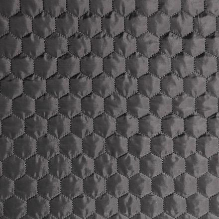 Tissu Doudoune matelassé Hexagone Gris - Par 10 cm