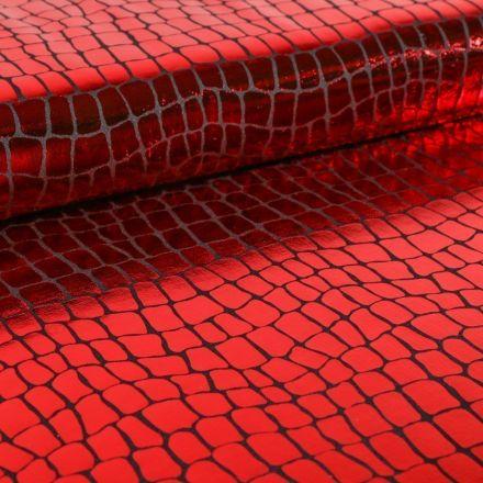 Tissu Jersey Métallisé Ecailles de crocodile rouges - Par 10 cm