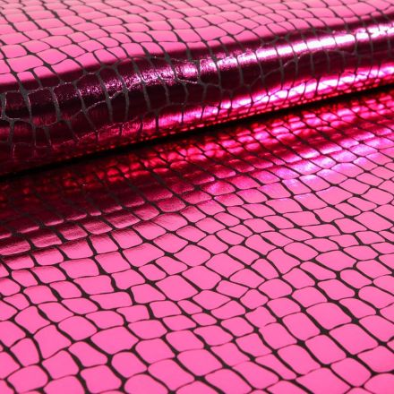 Tissu Jersey Métallisé Ecailles de crocodile fushia - Par 10 cm