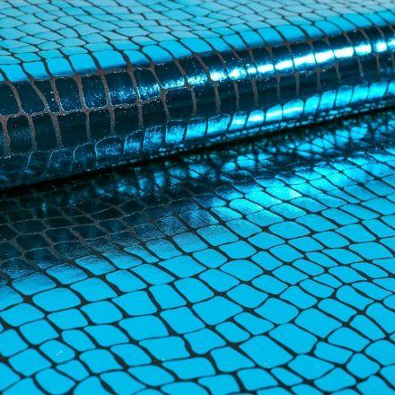 Tissu Jersey Métallisé Ecailles de crocodile bleu canard - Par 10 cm