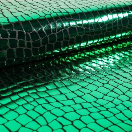 Tissu Jersey Métallisé Ecailles de crocodile vertes - Par 10 cm