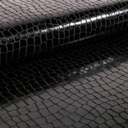 Tissu Jersey Métallisé Ecailles de crocodile noires - Par 10 cm