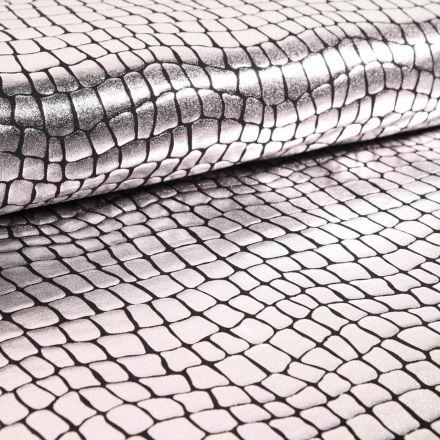 Tissu Jersey Métallisé Ecailles de crocodile argentées - Par 10 cm