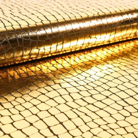 Tissu Jersey Métallisé Ecailles de crocodile dorées - Par 10 cm