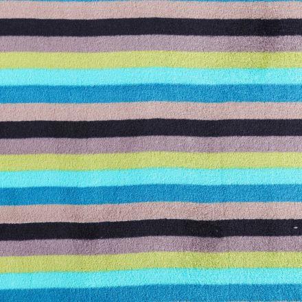 Tissu Doudou Rayures Bleues, vertes, grises et noires - Par 10 cm
