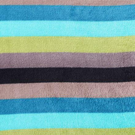 Tissu Doudou Larges rayures Bleues, vertes, grises et noires - Par 10 cm
