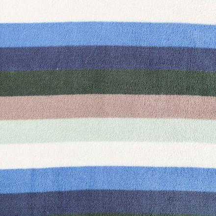 Tissu Doudou Larges rayures Bleues, vertes, grises et blanches - Par 10 cm