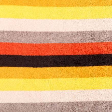 Tissu Doudou Larges rayures Jaunes, oranges, grises et marron - Par 10 cm