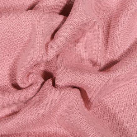 Tissu Bord côte uni Bio Vieux rose - Par 10 cm
