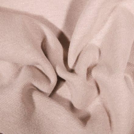 Tissu Bord côte uni Bio Naturel - Par 10 cm