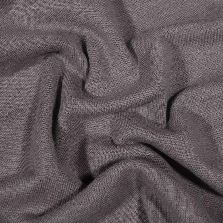 Tissu Bord côte uni Bio Gris anthracite - Par 10 cm