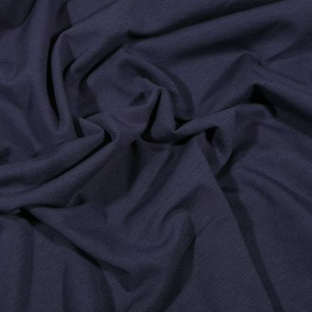 Tissu Jersey Coton Bio uni Bleu marine - Par 10 cm