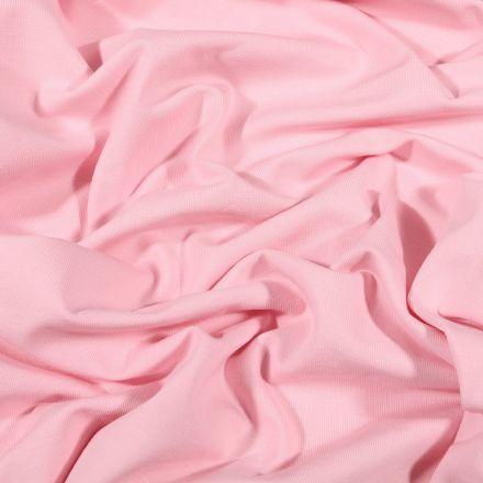 Tissu Jersey Coton Bio uni Rose bébé - Par 10 cm