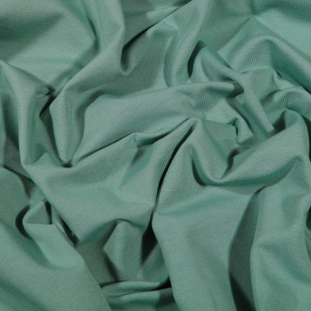 Tissu Jersey Coton Bio uni Vert d'eau - Par 10 cm