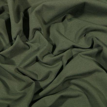 Tissu Jersey Coton Bio uni Vert kaki - Par 10 cm
