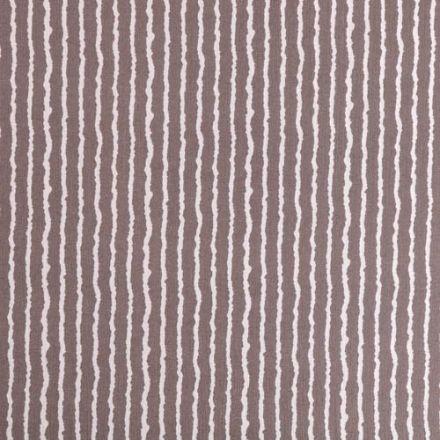 Tissu Crépon Viscose Rayures Blanches sur fond Taupe - Par 10 cm