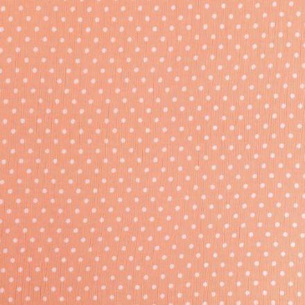 Tissu Crépon Viscose Pois Blancs sur fond Rose saumon - Par 10 cm