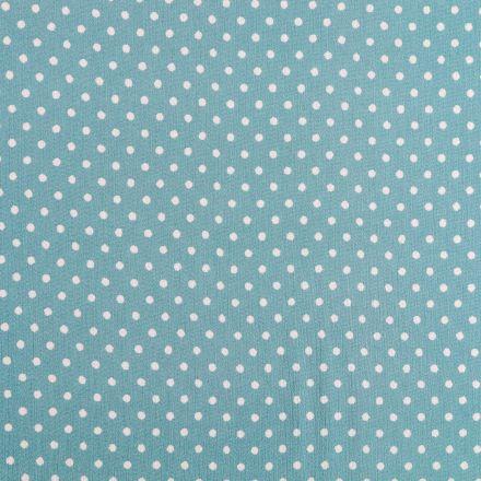 Tissu Crépon Viscose Pois Blancs  sur fond Vert de gris - Par 10 cm