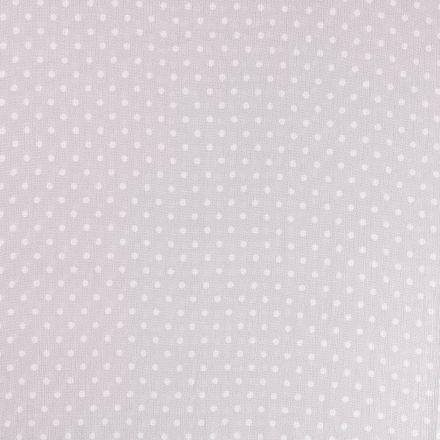 Tissu Crépon Viscose Pois Blancs  sur fond Gris clair - Par 10 cm