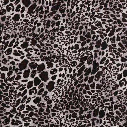Tissu Microfibre léger imprimé Léopard Marron et noir sur fond Gris - Par 10 cm