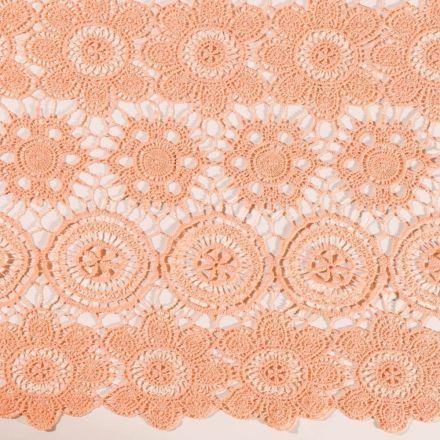 Tissu Dentelle Fleurs et rosaces Saumon sur fond Saumon - Par 10 cm