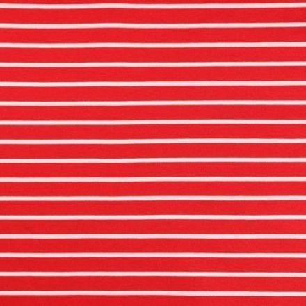 Tissu Jersey Milano Fines rayures marinière Blanches et rouges - Par 10 cm
