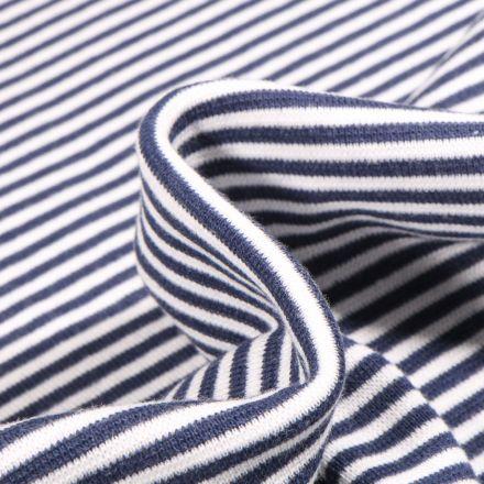 Tissu Bord côte  Rayé bleu marine sur fond Blanc