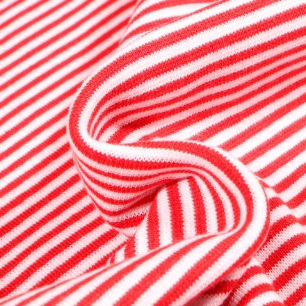 Tissu Bord côte  Rayé rouge sur fond Blanc