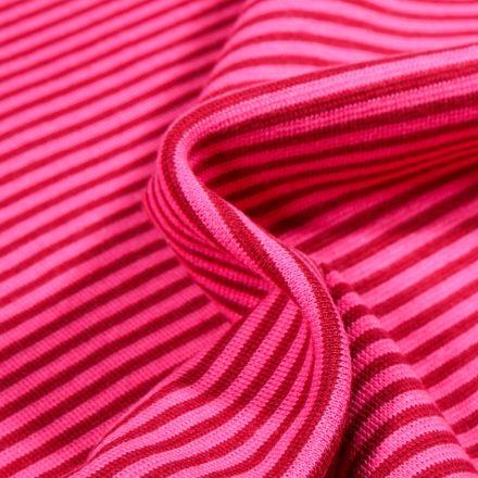 Tissu Bord côte  Rayé rouge sur fond Rose