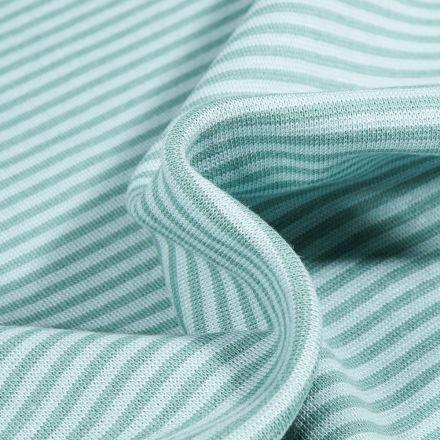 Tissu Bord côte  Rayé sur fond Vert menthe clair